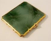 Emerald Green Cigarette Case, Marbled Enamel, Stratton of England