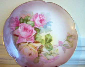 Bavarian Pink Cabbage Roses Porcelain Plate by Jaeger and Company Louise Series
