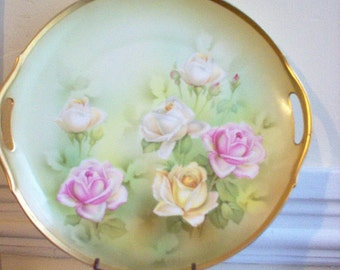 R S Germany Roses Cake Plate Two Handled