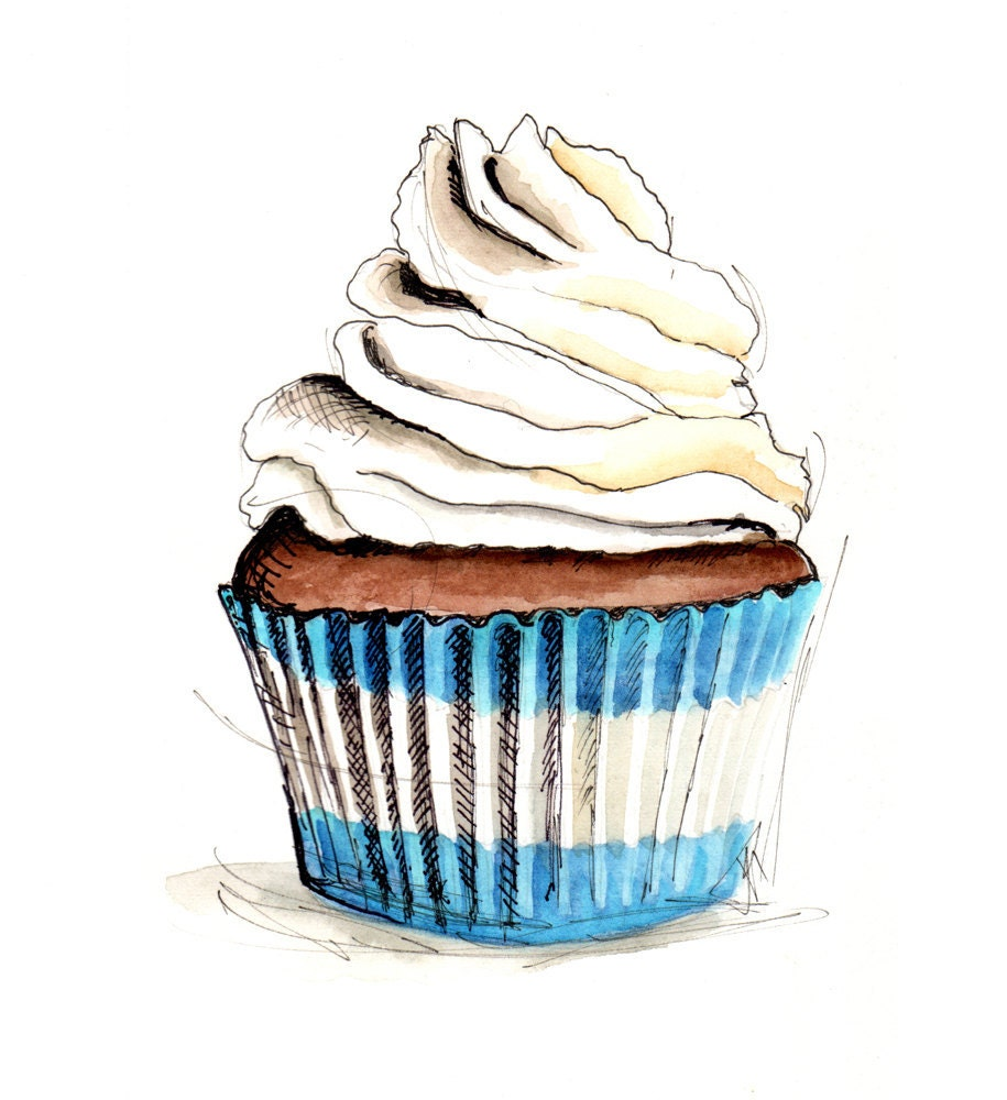 Artist Who Draws Cake : Cupcake Illustration