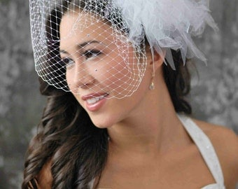 Bird Cage Veil- 12 inches long, white, with scattered Swarovski Crystals-- and Calla Lilly with tulle Fascinator