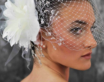 Bird Cage Veil- 12 inches long, ivory, with Swarovski Crystal Edge-- with Flower and Crystal Fascinator