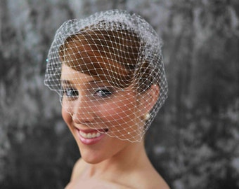 Bird Cage Veil- 12 inches long, white with Scattered Swarovski Crystals