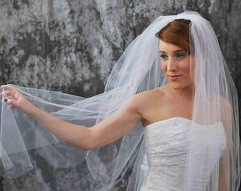 2 Tier White Veil, Elbow/Fingertip, Scalloped Edge Embellished with Swarovski Crystals