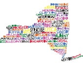 18x24 NEW YORK Digital Illustration Print of New York State with Cities Listed