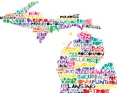 MICHIGAN Digital Illustration Print of Michigan State with Cities Map
