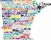 10x14 MINNESOTA Digital Ilustration State Print Map with Minneapolis St Paul