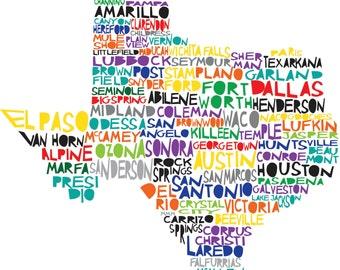 Large TEXAS 11x11.4 State Print Digital Illustration with Dallas Houston Austin Lonestar