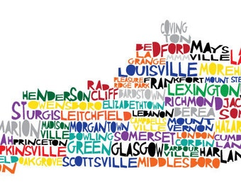 Large KENTUCKY 17x8.5 - Digital Illustration Print of Kentucky State with Cities