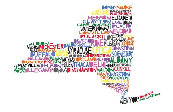 NEW YORK Digital Illustration Print of New York State with Cities Listed