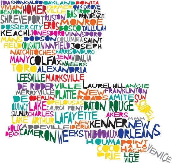 LOUISIANA Digital Illustration Print of Louisiana State with Baton Rouge New Orleans