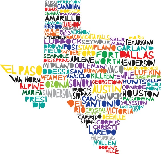 TEXAS State Print Digital Illustration with Cities Listed Dallas Houston Austin Lonestar