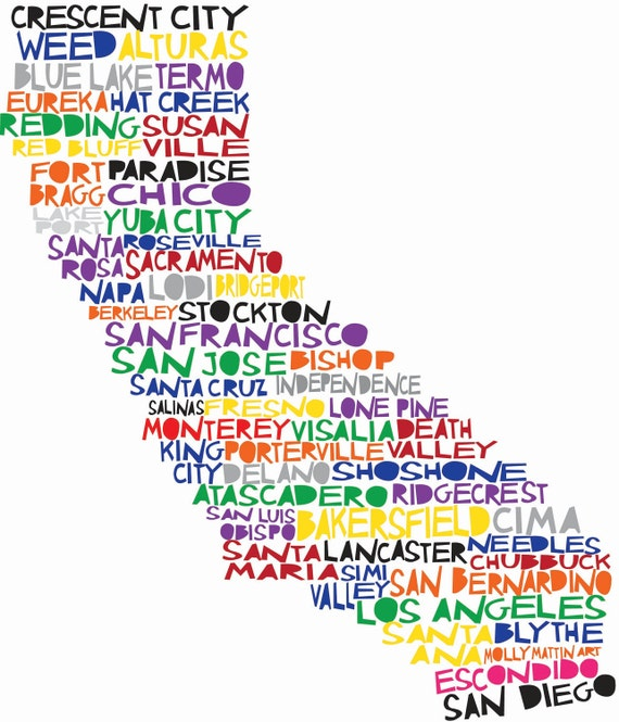 CALIFORNIA Digital Illustration Print of California State with Cities Listed