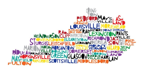 Extra large KENTUCKY Digital Illustration Print of Kentucky State with Cities