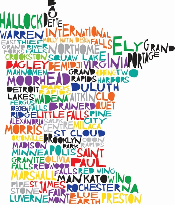 MINNESOTA Digital Ilustration State Print Map with Minneapolis St Paul