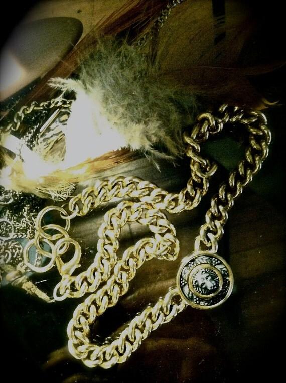 Vintage Gold Lioness Chain Necklace