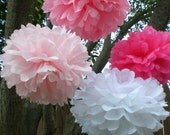 8 Hanging Tissue Paper Pom Poms- Baby Shower decoration, birthday party decoration, it's a girl, baby girl shower decorations, pompoms,
