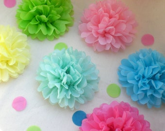 Birthday Party Decoration - 20  Medium Tissue Paper Flowers /  Pick Your Colors