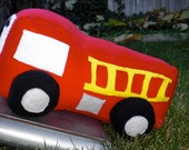 Cyber Monday Etsy Stuffed Firetruck Plush Toy Red Custom- great holiday gift Under 25  Children Kids Kid Christmas Holiday
