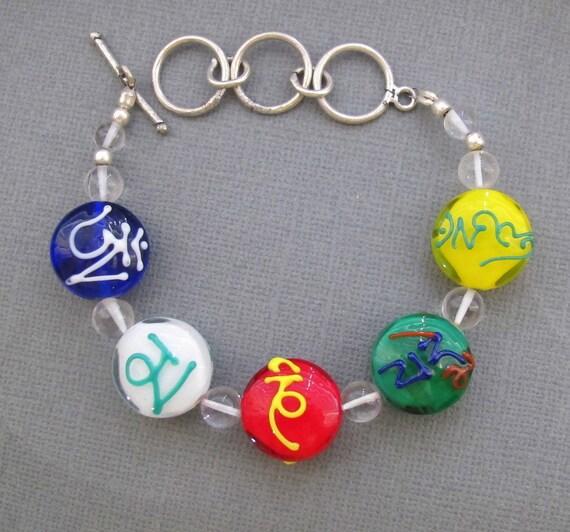 Tibetan Flag with Prayers Handmade Murano Glass Lampwork Bracelet