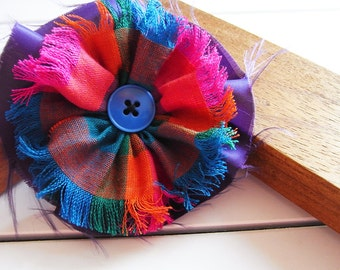 Fabric hair flower clip with button centre