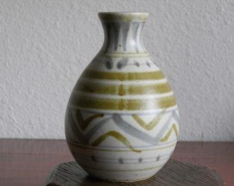 Vintage Japanese Modern Stoneware Bud Vase with Stripe Design Multi Color Green Purple