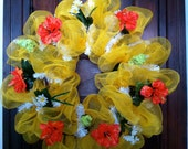 Sunny Yellow Mesh Wreath for Summer