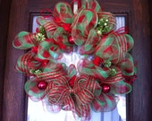 Plaid Lime Green and Red Christmas Mesh Wreath