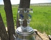 Country Folk Glasses/RedNeck Wine Glasses- Bull Rider in Blue Set of 2