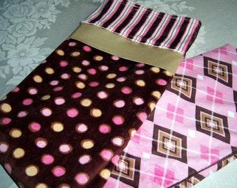 Pink, Brown & Gold Dots, Stripes, Argyle Minky Baby/Toddler Blanket