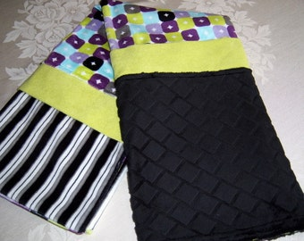 Purple, Aqua, Lime Green, Black, Gray And Lavendar Minky Baby/Toddler Blanket