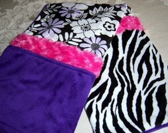 Black, White, Lavender, Purple And Hot Pink Zebra Baby/Toddler Minky Blanket With Purple Backing