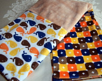 Blue, Orange, Yellow, Brown Whales And Crazy Squares Minky Baby/Toddler Blanket