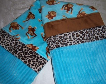 Monkey Business On Aqua With Caramel & Cheetah - Minky Baby/Toddler Blanket