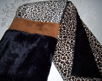 Chic Soft Black, Caramel & Cheetah Print Minky Baby/Toddler Blanket