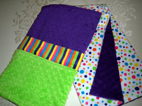 Purple, Lime Green, Polka Dots & Circus Stripes Minky Baby/Toddler Blanket