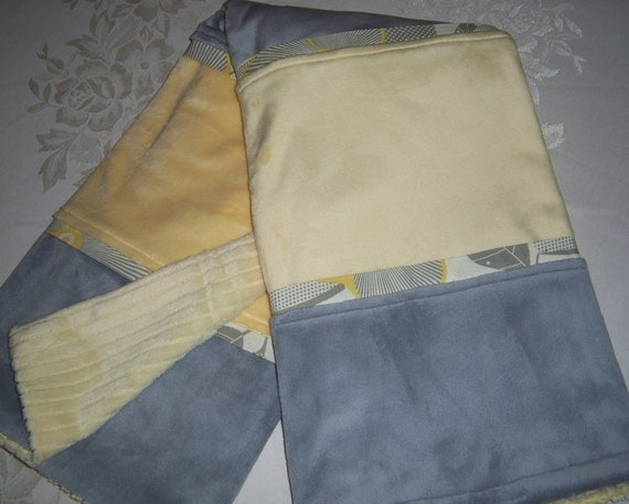 Soft And Plush Gray & Yellow Stripe Minky Baby/Toddler Blanket