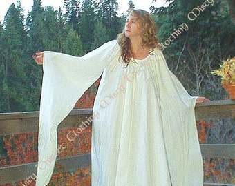 Handmade Medieval Fantasy Cotton Gown in your Color. One Size Fits All for SCA, Larp, Ren Faire, ComicCon