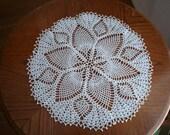 17 inch diameter white crochet doily.
