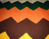Extra large afghan in zig-zag pattern, hand crocheted,