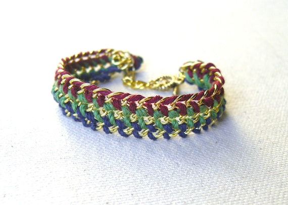Woven Multi Chain Bracelet - Gold tone with Blue, Green, & Red
