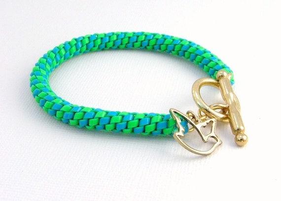 Boondoggle Rex-lace Friendship Bracelet w/ Gold tone Bird Charm
