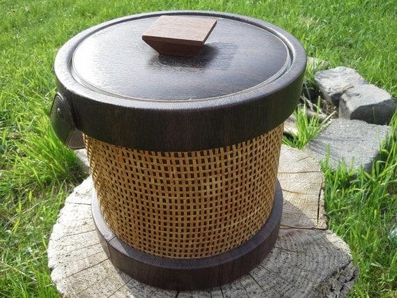1960s Brown Rattan Ice Bucket