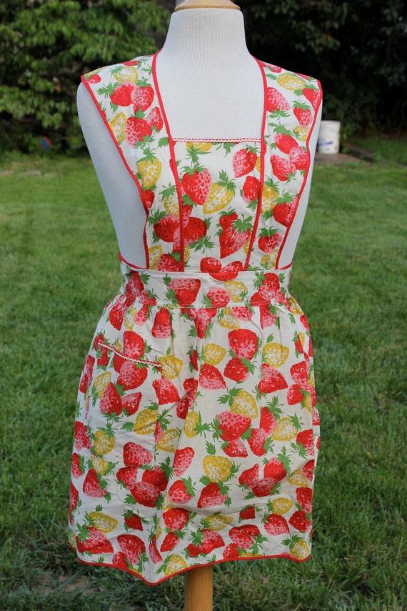 Vintage Strawberries Halter Bib Apron