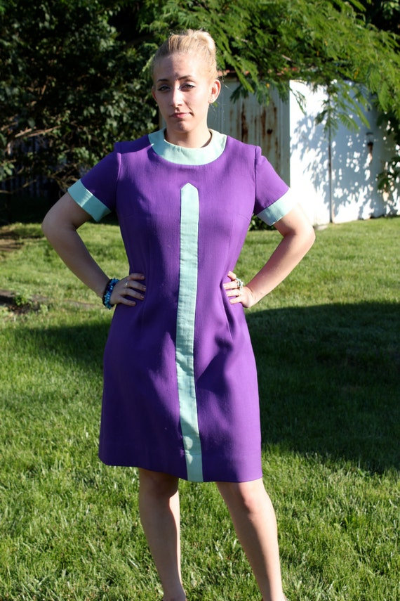 Mod Purple Dress with Blue Stripe- Posh by Jay Anderson Reduced for Back to School