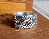 Sterling Japanese-Inspired Wave Ring