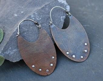 traveling westward earrings--copper and sterling silver