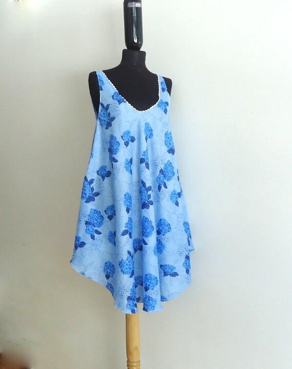Mini Beach Dress/ Top in blue flowers, Trendy, Summer, Beach,