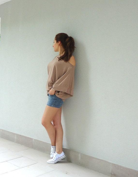 Ecru Cotton-Blend Batwing Tunic ,Open Shoulder Mini Dress.womens ecru cotton elastic  burlywood  top blouse   mini dress.