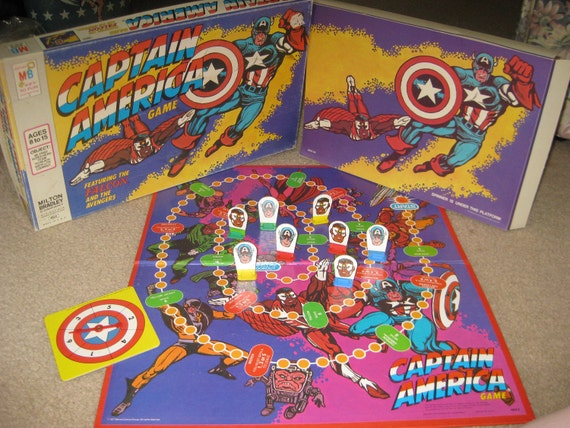Vintage 1977 MB Captain America Board Game